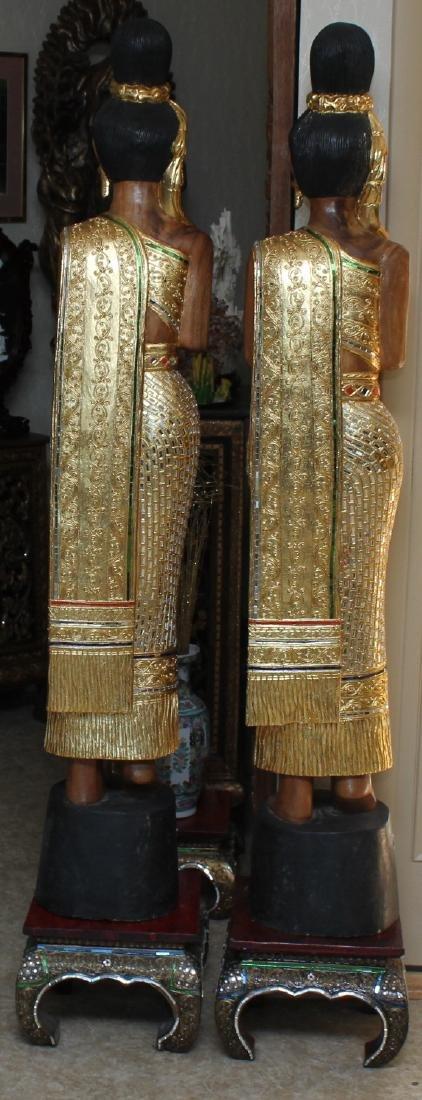 Pair of Thai wood carved mirror applied Sawasdee ladies - 3