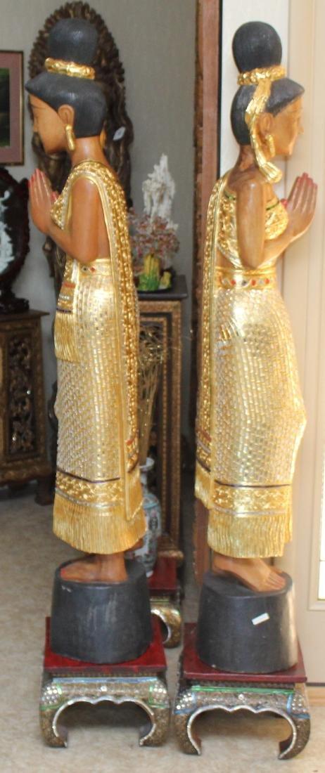 Pair of Thai wood carved mirror applied Sawasdee ladies - 4