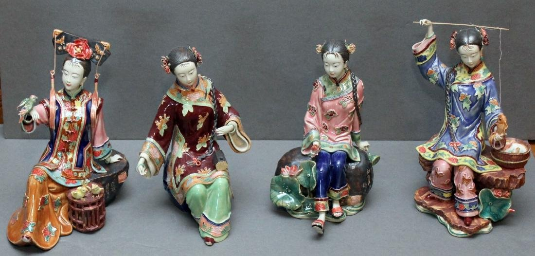 Set of 4 Chinese clay lady figures - fisher, bird,