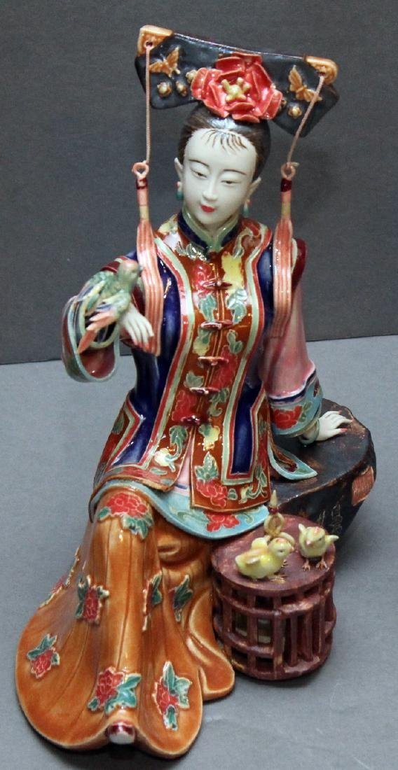 Set of 4 Chinese clay lady figures - fisher, bird, - 2