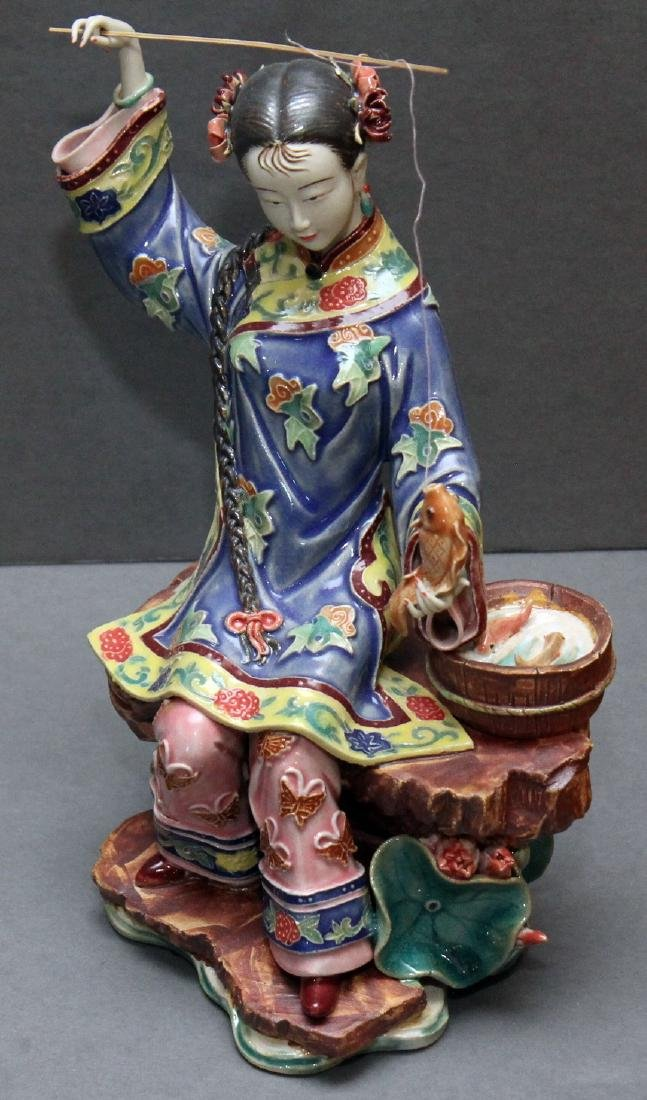 Set of 4 Chinese clay lady figures - fisher, bird, - 5