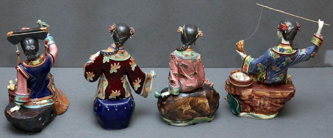 Set of 4 Chinese clay lady figures - fisher, bird, - 6