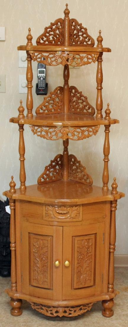 Asian wood carved corner shelf with drawer and double