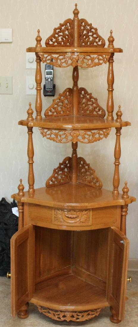Asian wood carved corner shelf with drawer and double - 2