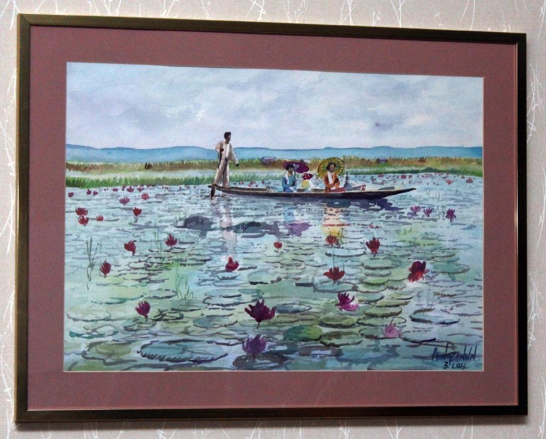 4 Asian watercolors, Luay, Moe Kyaw & others; water
