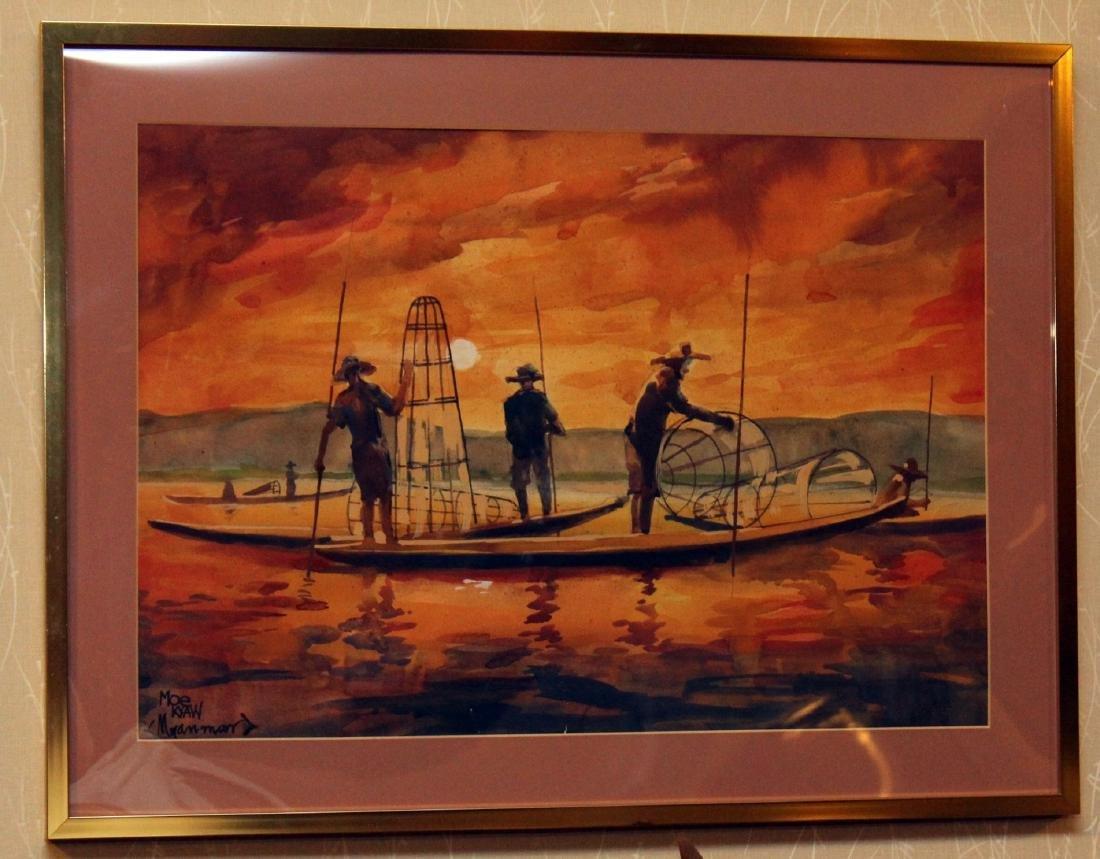 4 Asian watercolors, Luay, Moe Kyaw & others; water - 2