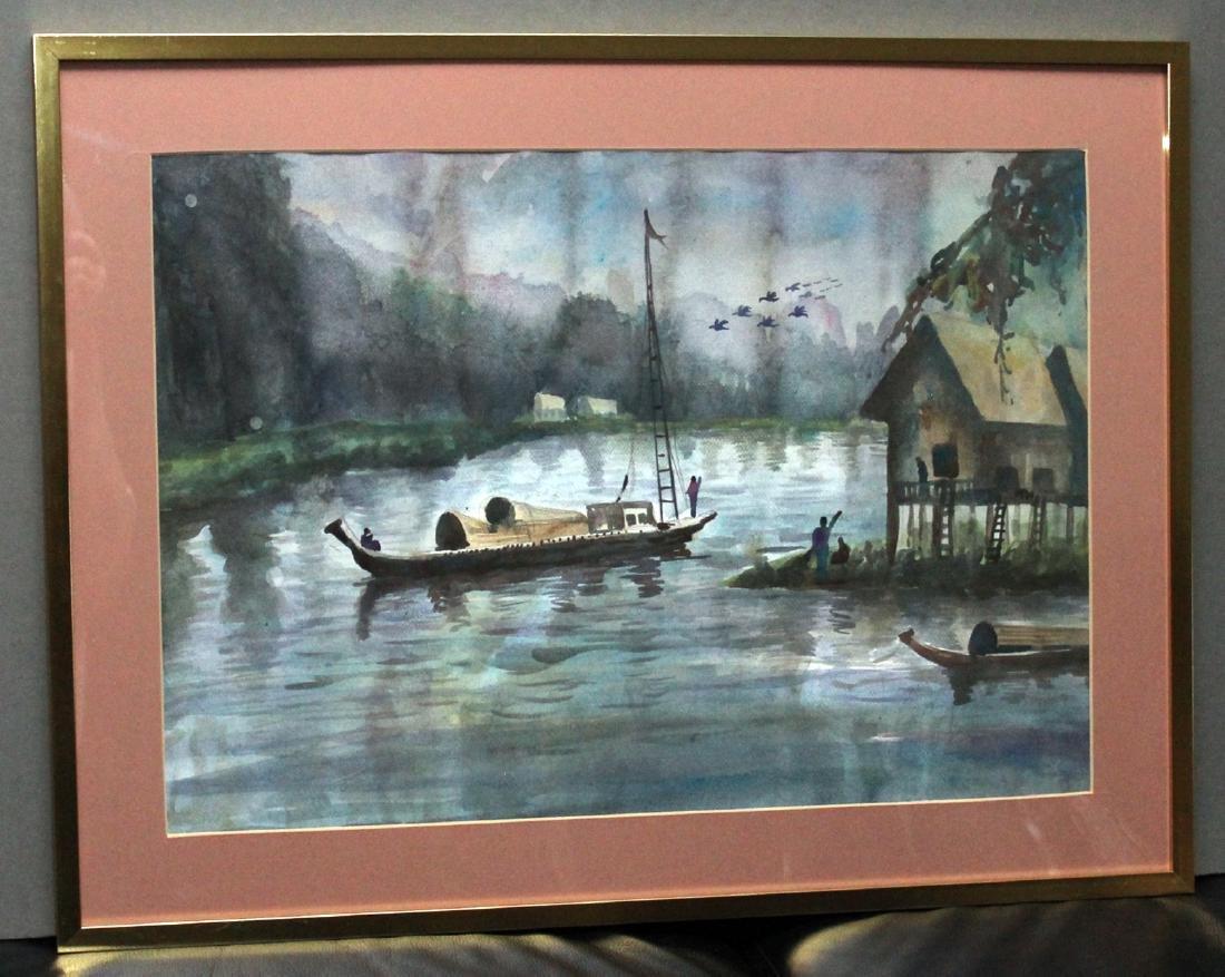 4 Asian watercolors, Luay, Moe Kyaw & others; water - 3
