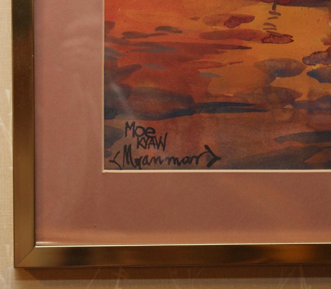 4 Asian watercolors, Luay, Moe Kyaw & others; water - 5