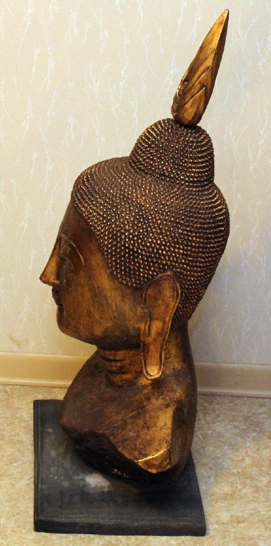 Pair of Thai gilt decorated wood carved Buddha heads, - 3