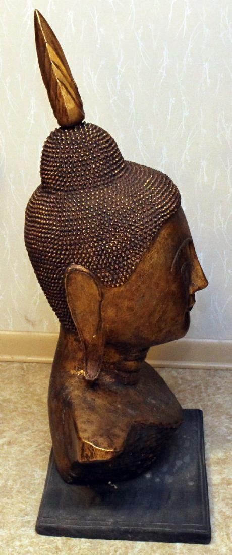 Pair of Thai gilt decorated wood carved Buddha heads, - 5