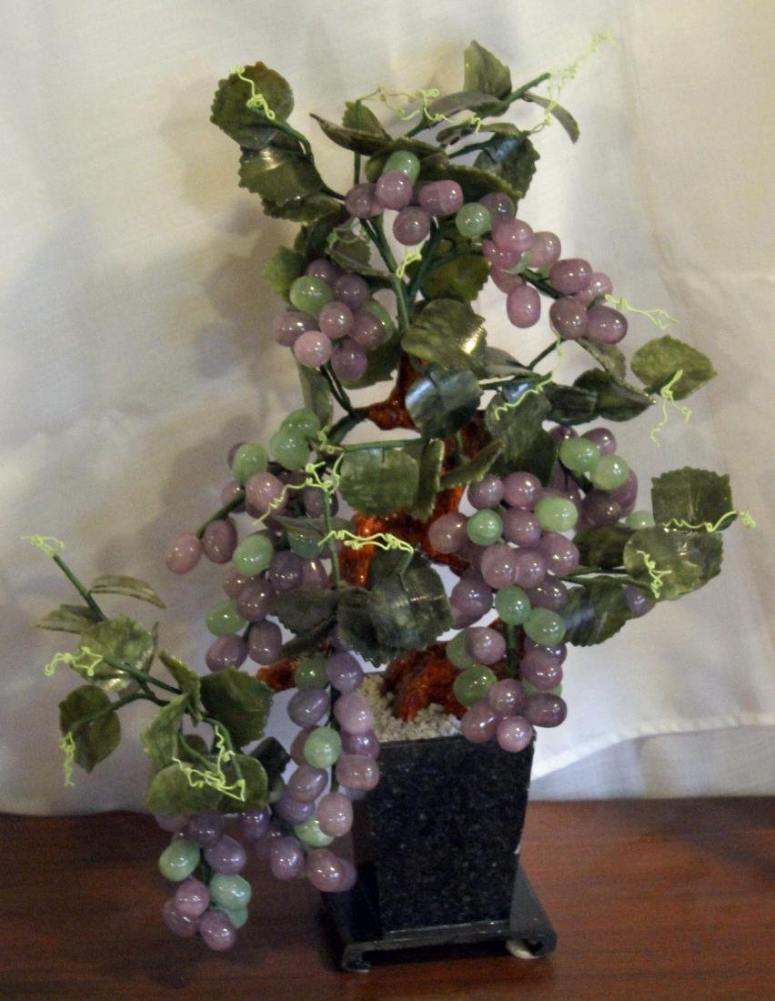 """Chinese carved hardstone grapes; 17"""" x 22"""""""