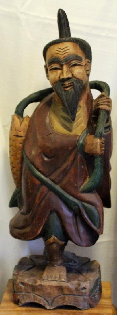 "Asian wood carved fisherman, 11"" x 31"" - 2"