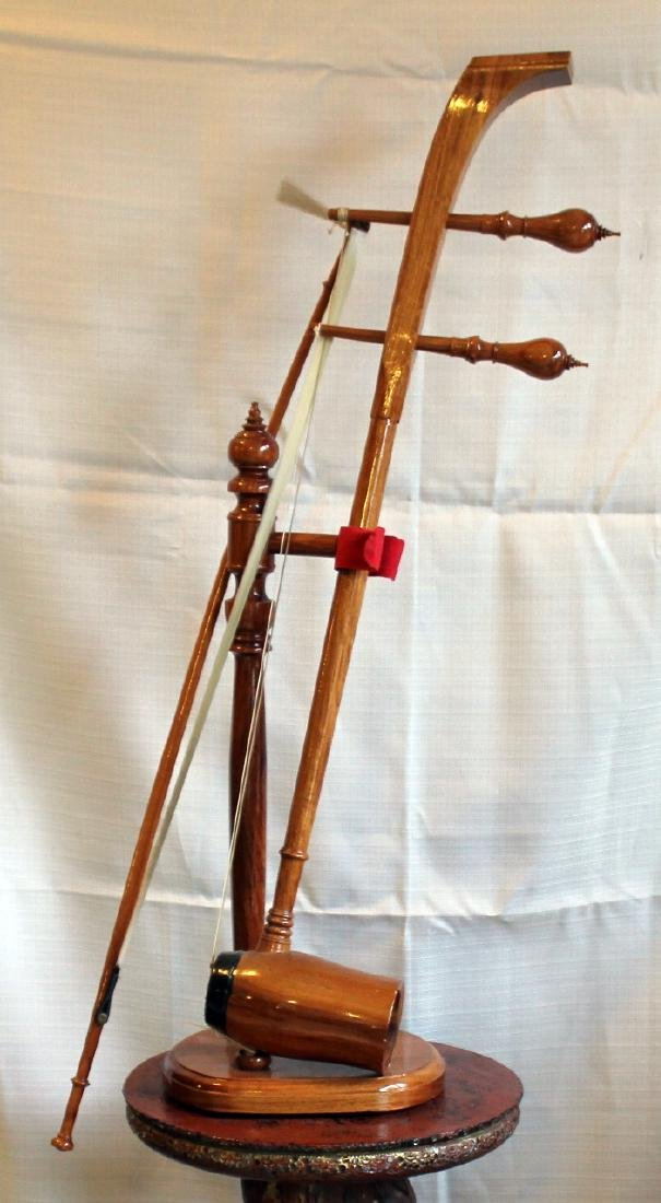 "Gaohu string instrument with stand; 10"" x 30"""
