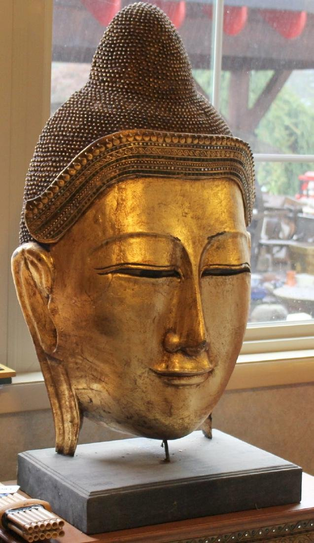 "Pair of Thai gilt wood busts of Buddha; 20"" x 38.5"" - 2"