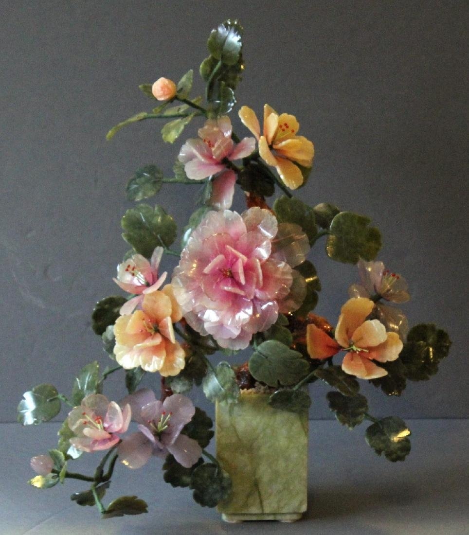 """Chinese carved hardstone flower bouquet; 17"""" x 20"""""""