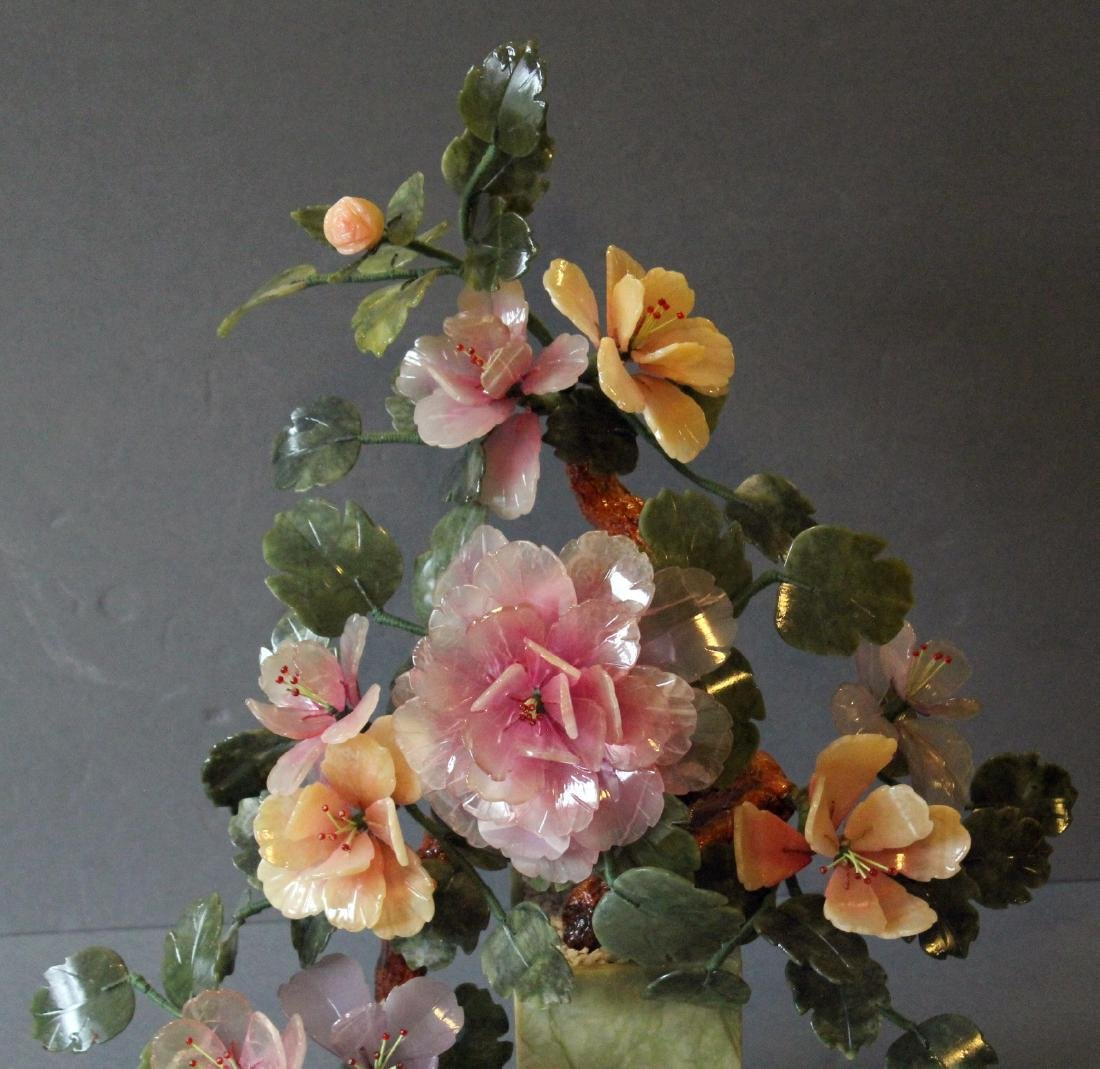 """Chinese carved hardstone flower bouquet; 17"""" x 20"""" - 3"""