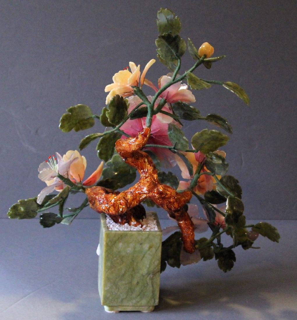 """Chinese carved hardstone flower bouquet; 17"""" x 20"""" - 4"""