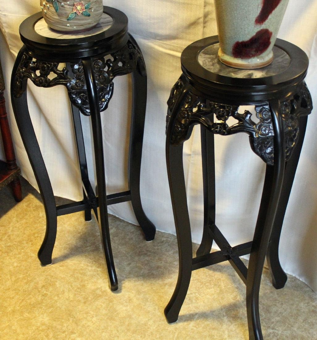 """Pair of marble top tall tables; 14"""" x 33"""""""