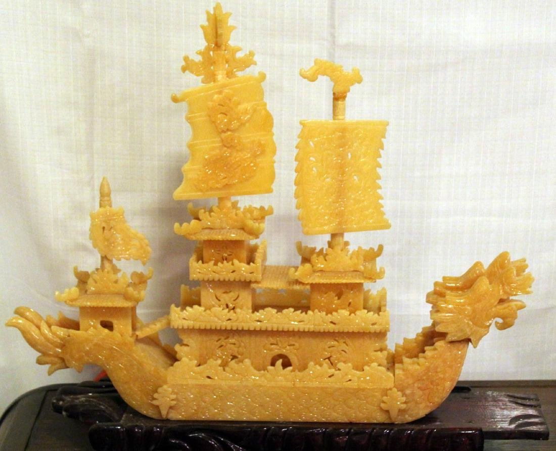 Chinese carved yellow Jade boat with original shipping