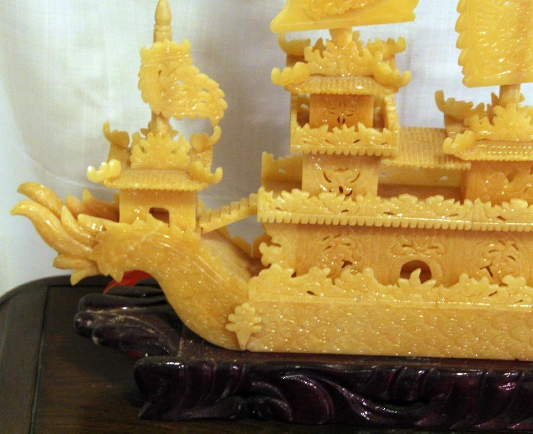 Chinese carved yellow Jade boat with original shipping - 2