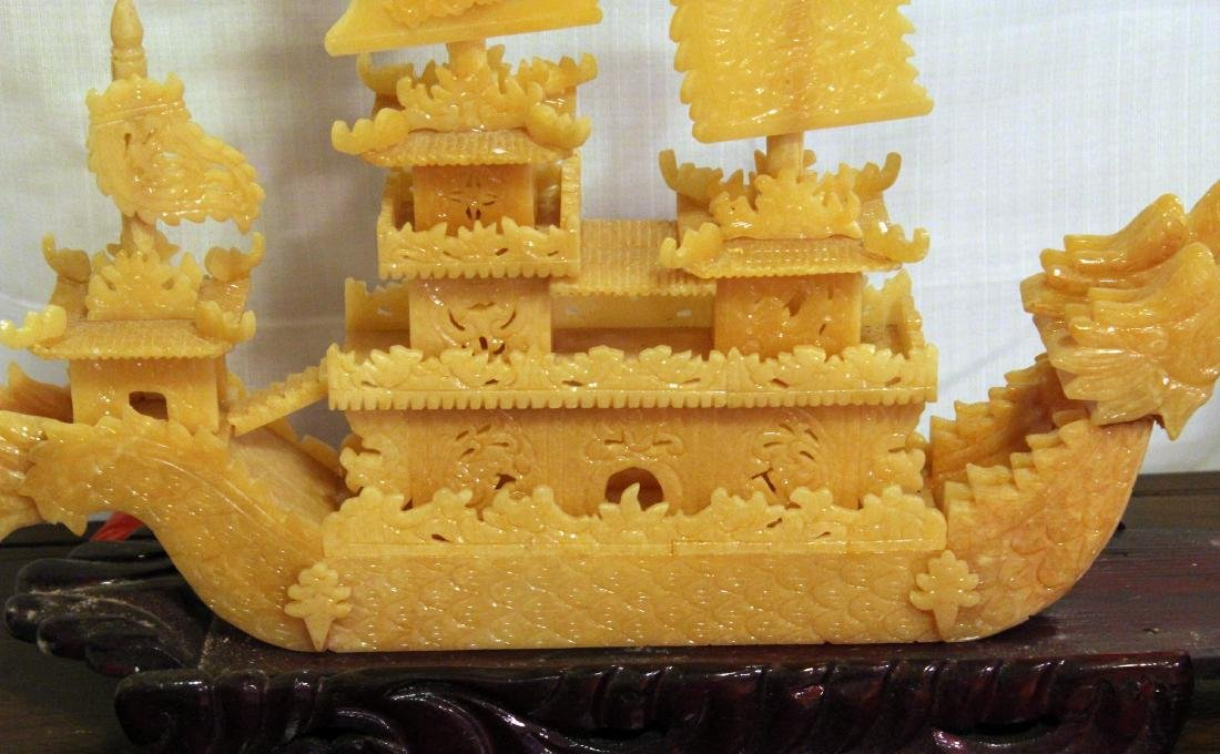 Chinese carved yellow Jade boat with original shipping - 3