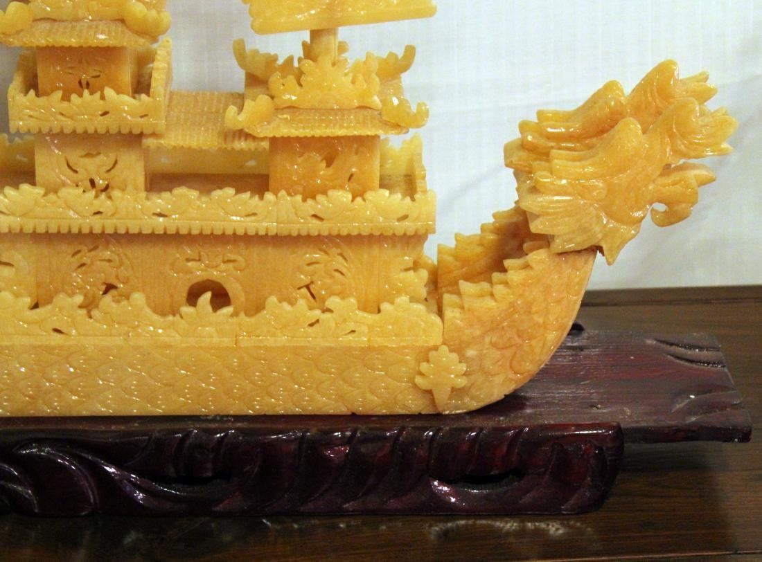 Chinese carved yellow Jade boat with original shipping - 5