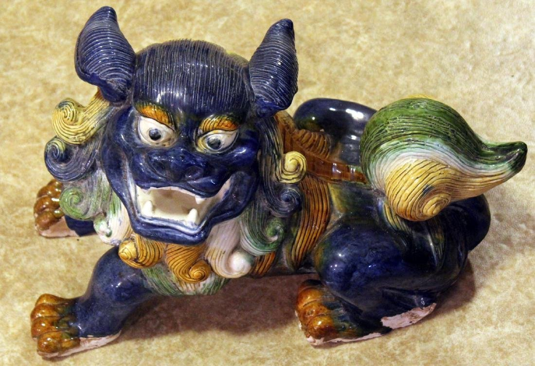 "Tang temple dog, glazed; 17"" x 11.5"""