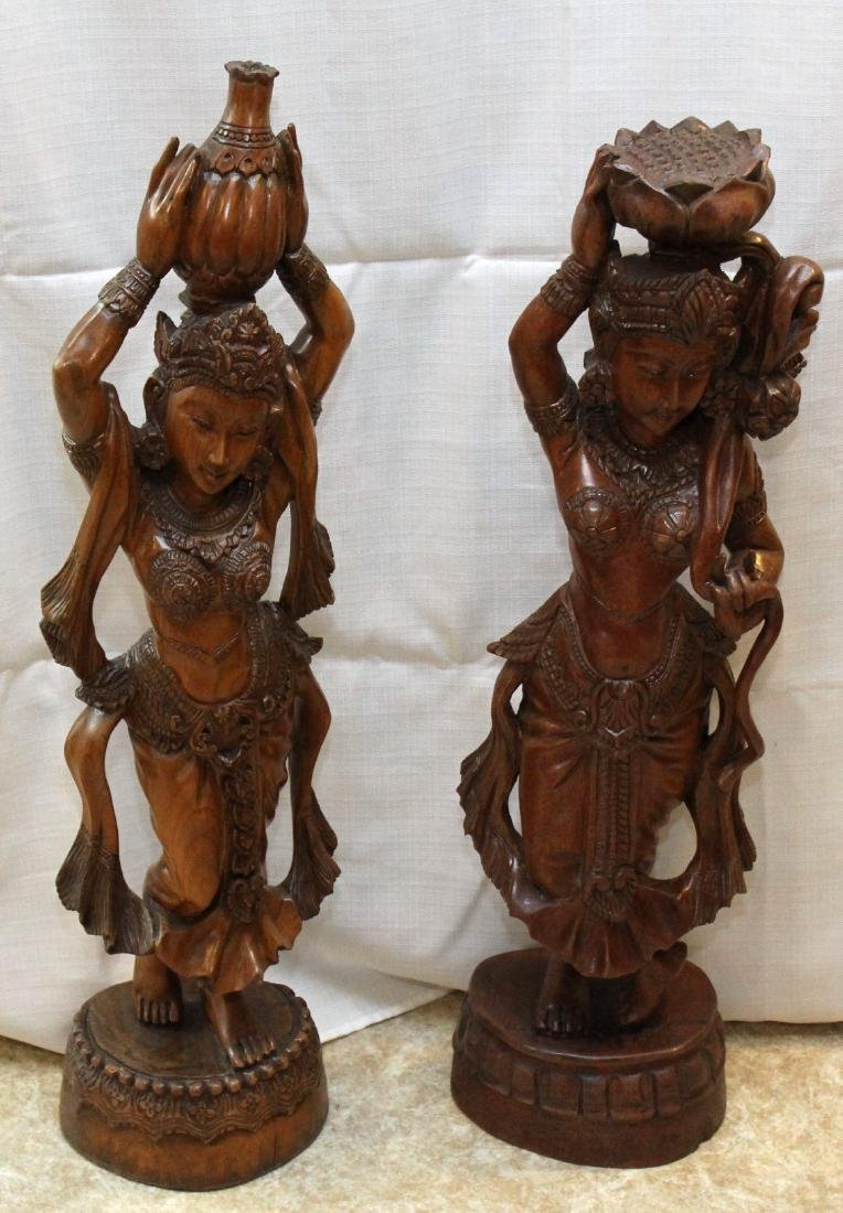 Pair of Burmese wood carved figural ladies; one with