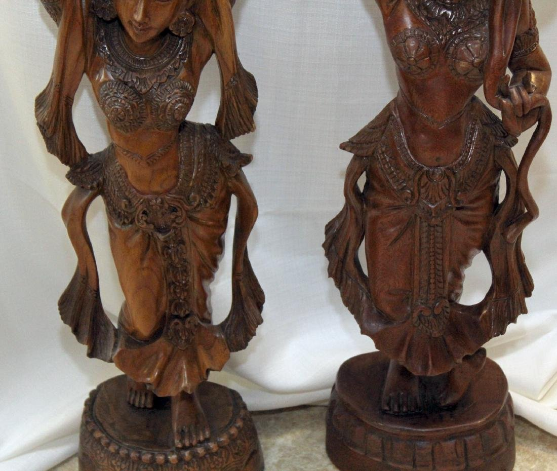 Pair of Burmese wood carved figural ladies; one with - 5