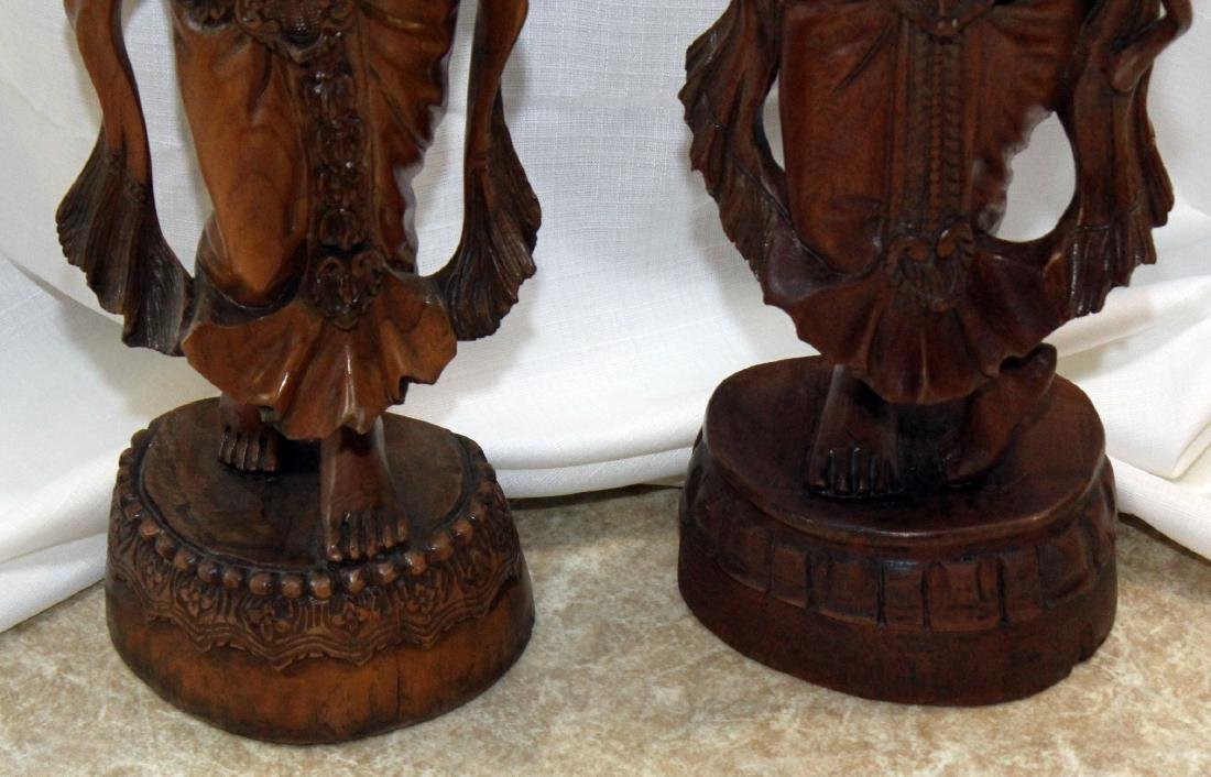 Pair of Burmese wood carved figural ladies; one with - 6