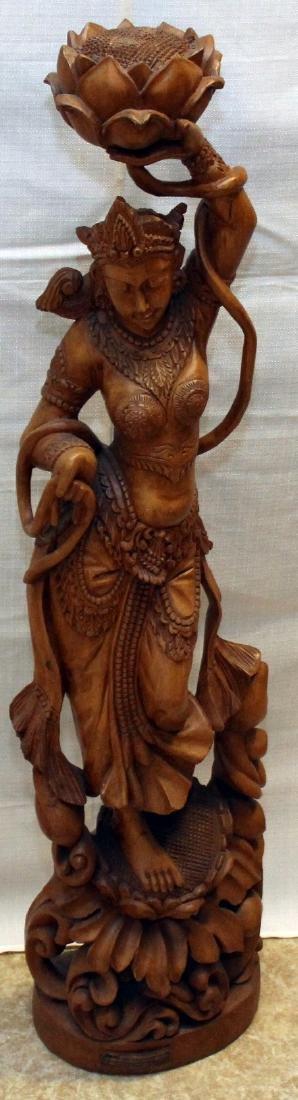 Burmese wood carved figural ladies w/lotus, having