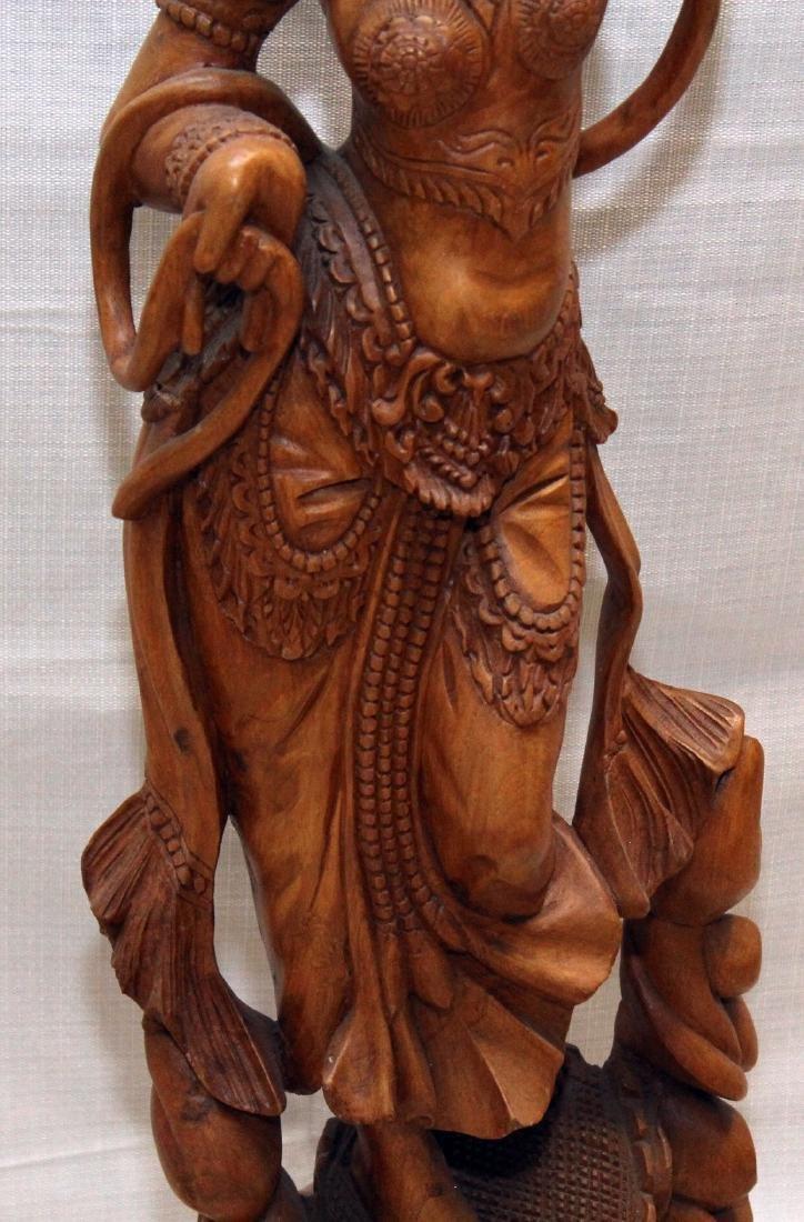 Burmese wood carved figural ladies w/lotus, having - 3