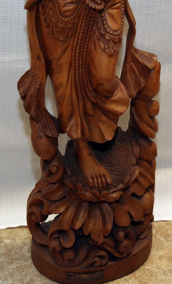 Burmese wood carved figural ladies w/lotus, having - 4
