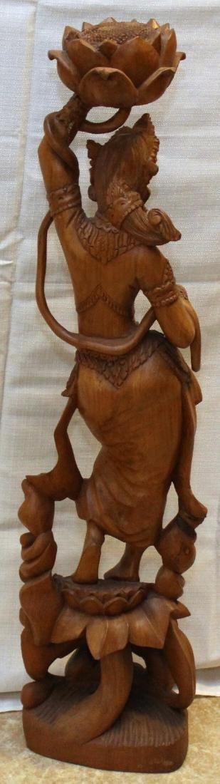 Burmese wood carved figural ladies w/lotus, having - 5