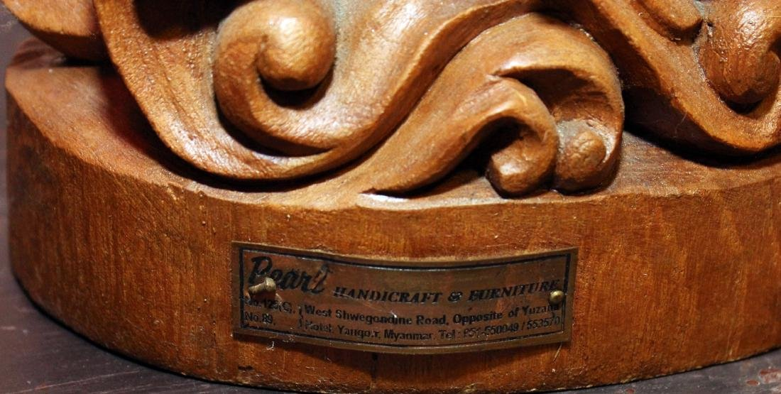 Burmese wood carved figural ladies w/lotus, having - 6