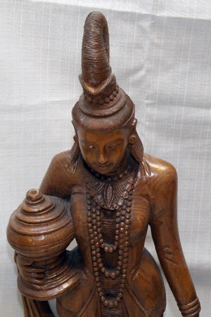 """Pair Burmese wood carved figural; 9"""" x 30""""; 1 having - 2"""