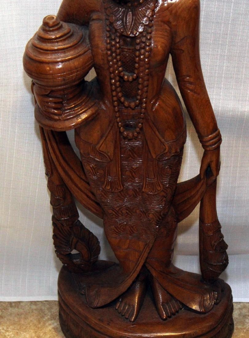 """Pair Burmese wood carved figural; 9"""" x 30""""; 1 having - 3"""