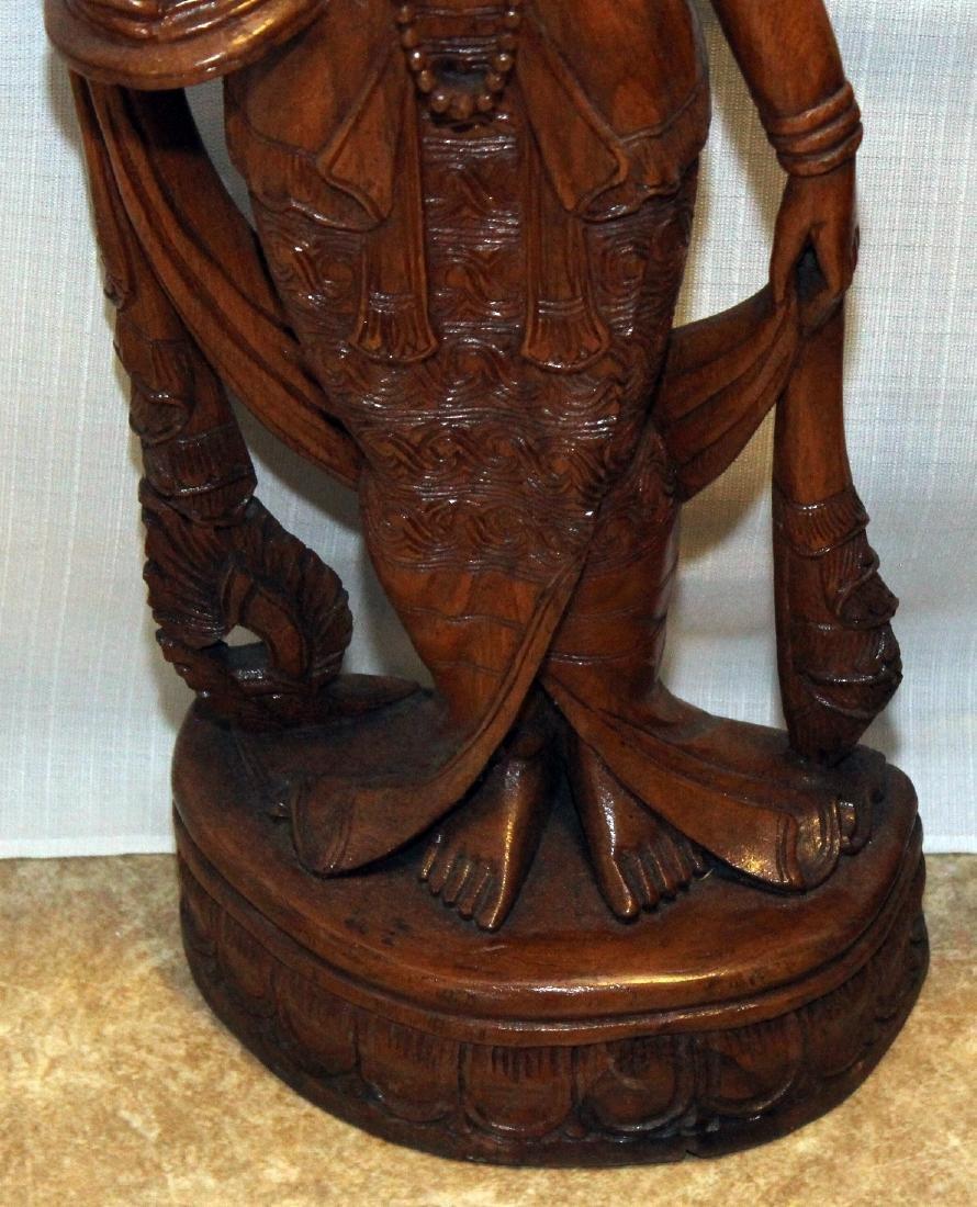 """Pair Burmese wood carved figural; 9"""" x 30""""; 1 having - 4"""