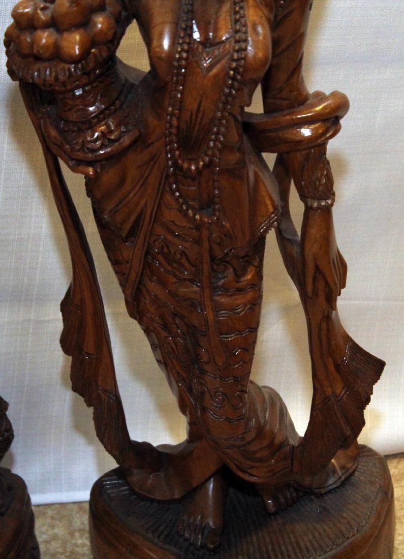 """Pair Burmese wood carved figural; 9"""" x 30""""; 1 having - 6"""