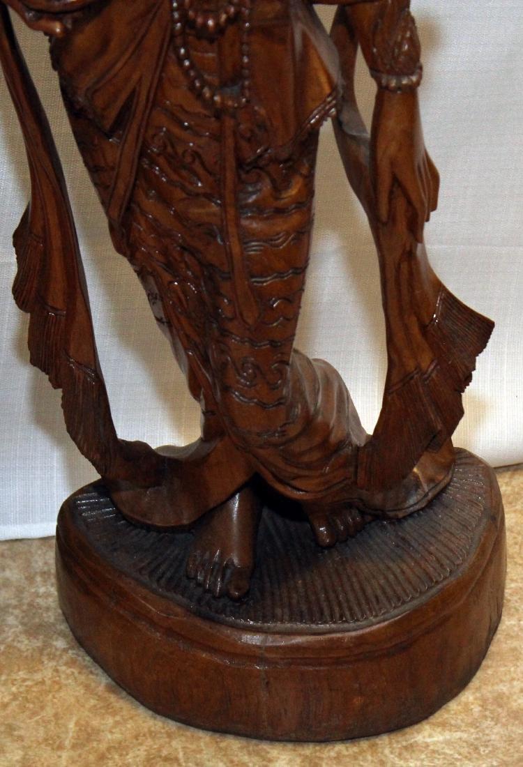 """Pair Burmese wood carved figural; 9"""" x 30""""; 1 having - 7"""