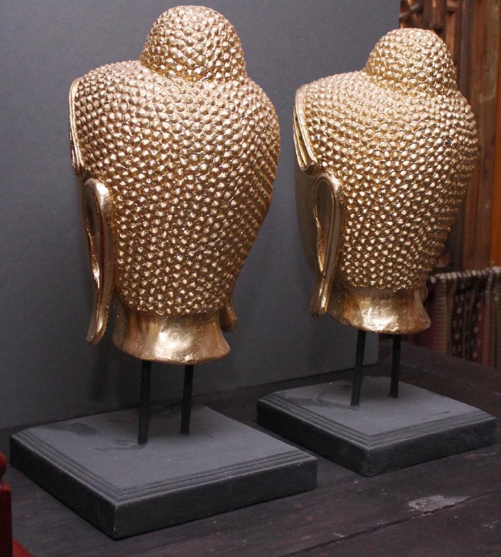 "Pair Thai gilt wood Buddha heads on stands; 8"" x 17"" - 2"