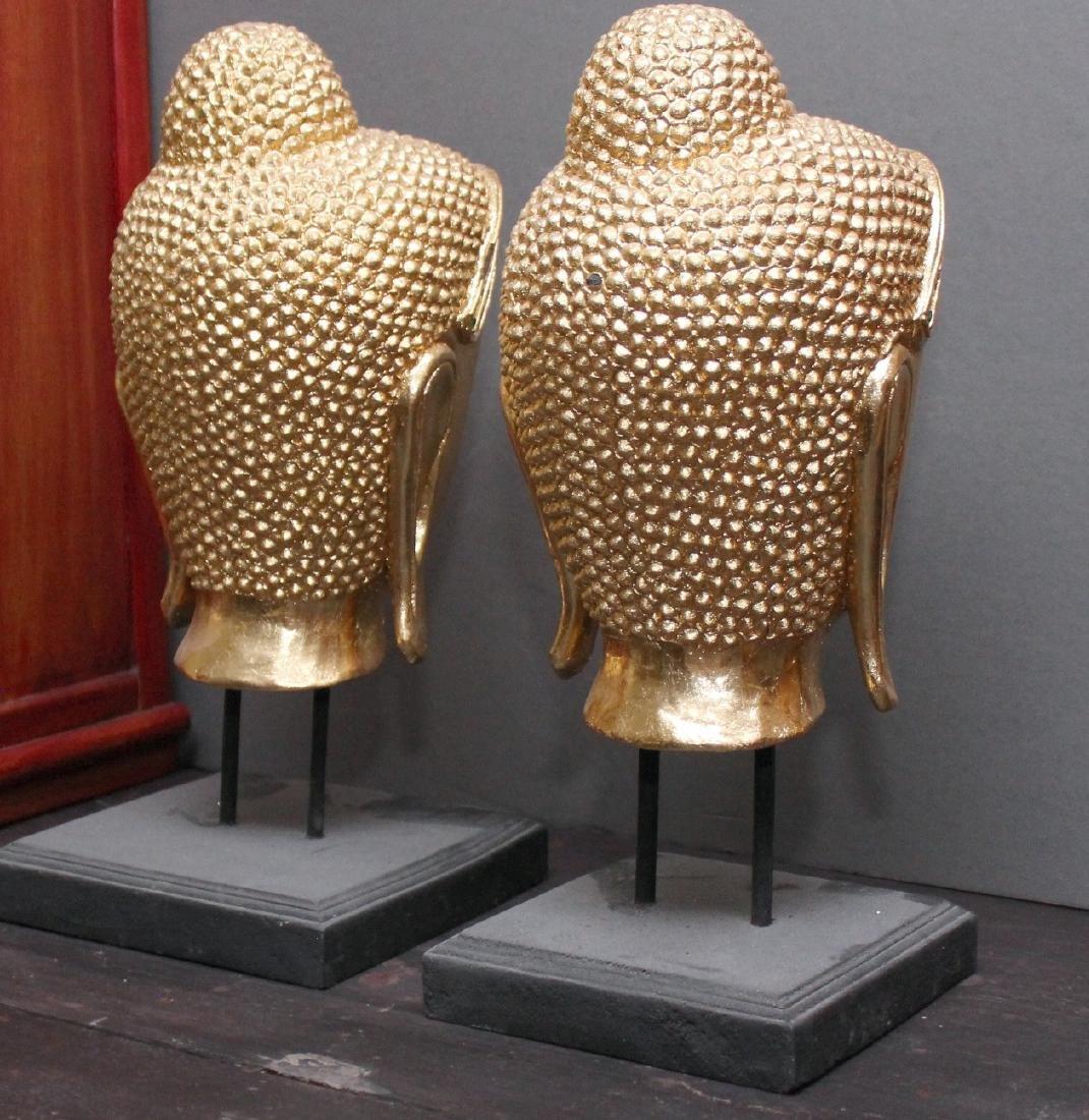 "Pair Thai gilt wood Buddha heads on stands; 8"" x 17"" - 3"