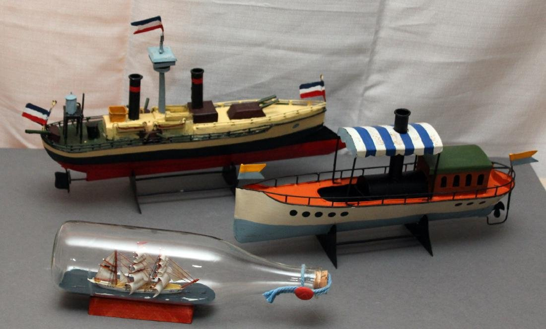 "ship in a bottle, 2 tin boat models, bottle 11.5"" ships"