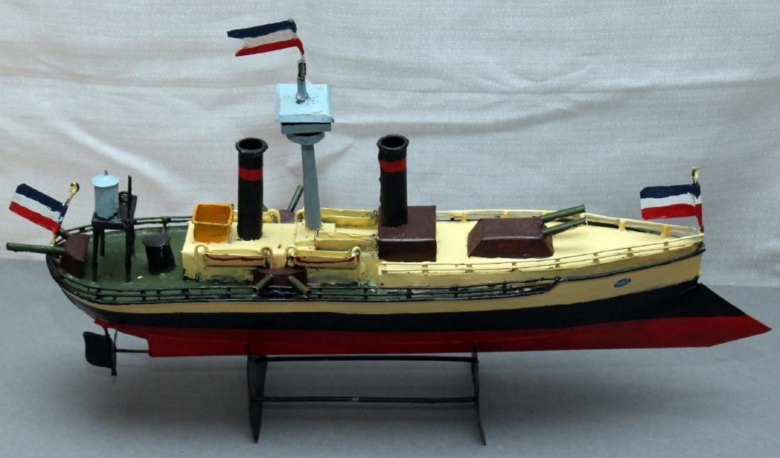 "ship in a bottle, 2 tin boat models, bottle 11.5"" ships - 2"