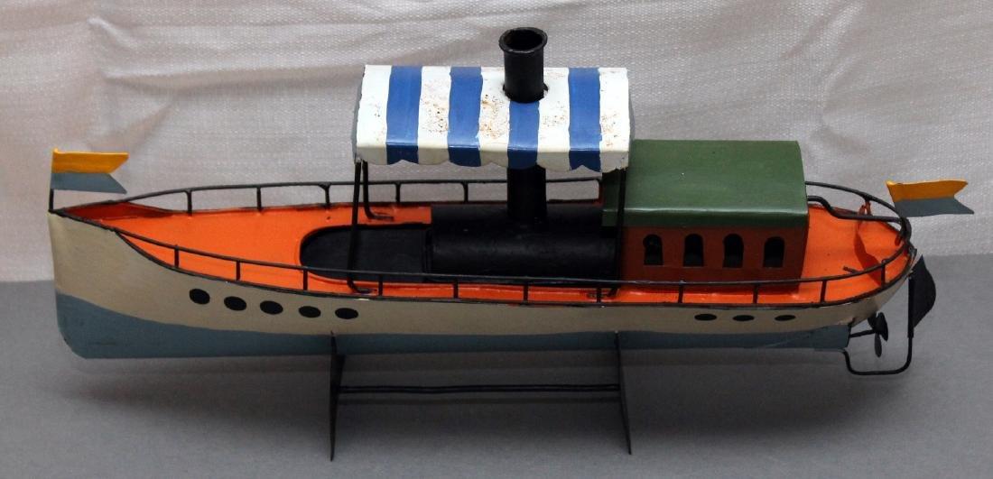 "ship in a bottle, 2 tin boat models, bottle 11.5"" ships - 3"