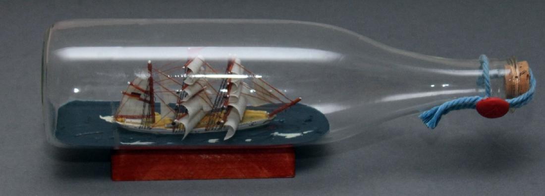 "ship in a bottle, 2 tin boat models, bottle 11.5"" ships - 4"