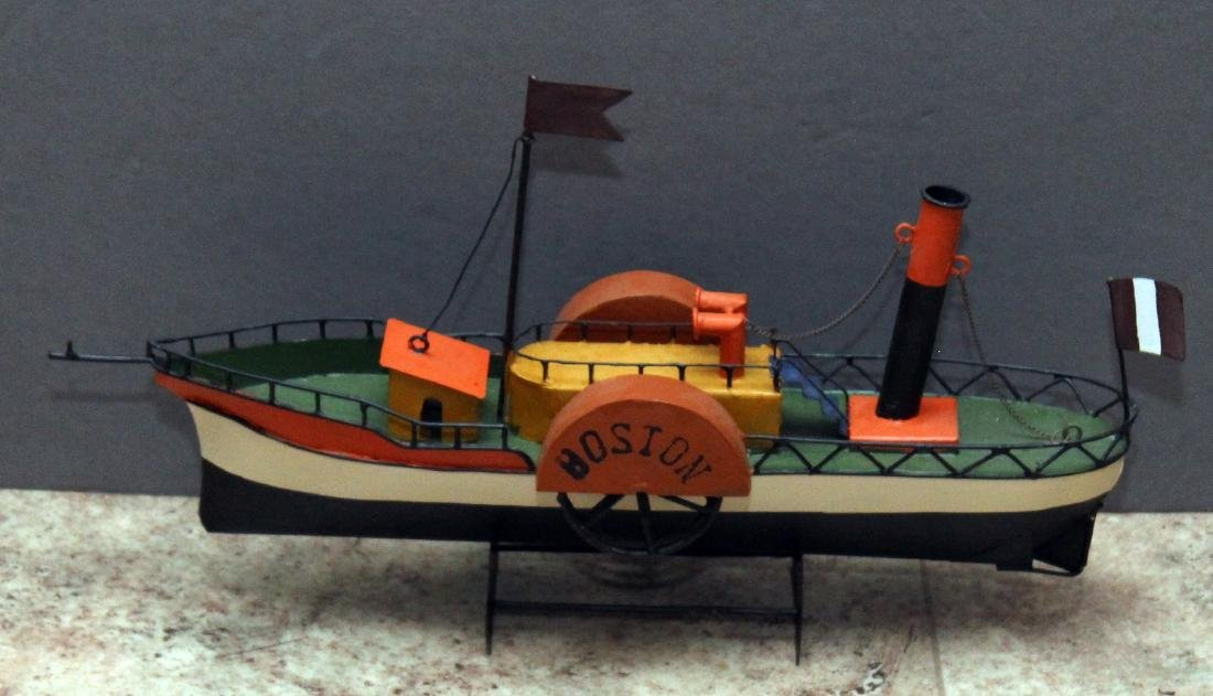 "3 steamship models; approx 17"" x 10"" - 2"