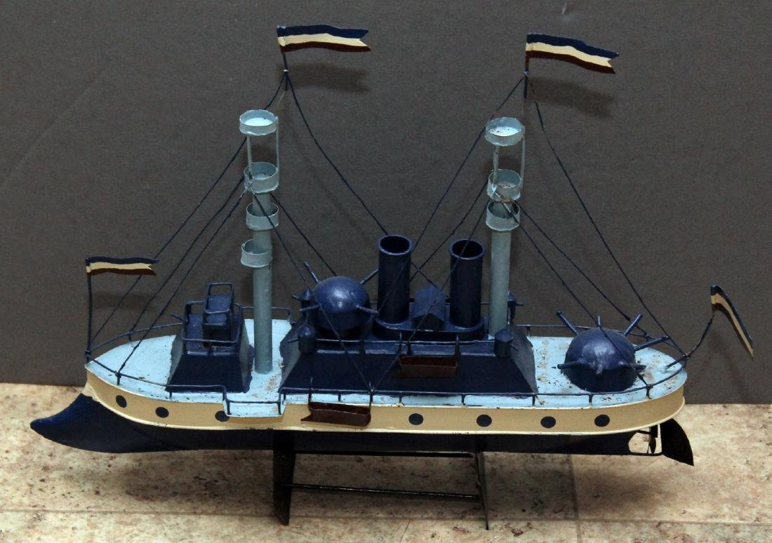 "3 steamship models; approx 17"" x 10"" - 3"