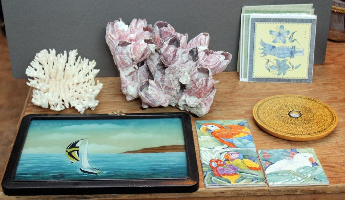 nautical lot of coral; sailship in glass painting;