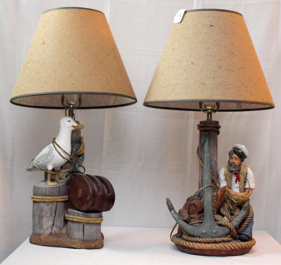 2 nautical theme dockside table lamps, signed Apsit